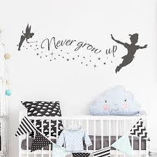 Big Sale 004734 Never Grow Up Wall Decal Peter Pan Quote Vinyl Sticker Neverland Wall Murals Nursery Kids Room Decoration A803 Cicig Co