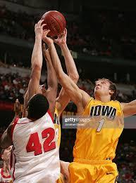 Adam Haluska and Erek Hansen of the Iowa Hawkeyes go up for a rebound...  News Photo - Getty Images
