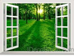 Green Forest Morning Sunshine 3d Window View Removable Wall Decals Sti Idecoroom