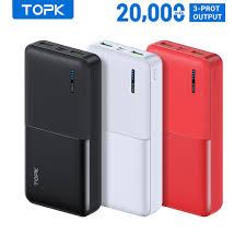 Sạc Dự Phòng TOPK I2009 Cổng USB Kép Thiết Kế Nhỏ Gọn Tiện Lợi Cho Xiaomi  Samsung iPhone 20000mAh