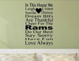 In This House We Cheer For The Rams Wall Decor Stickers Contemporary Wall Decals By Vinylsay Llc