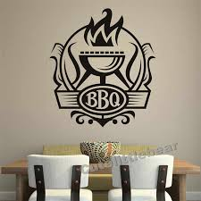 Bbq Badge Decal Vinyl Removable Waterproof Home Decor Grill With Fire Wall Stickers For Kitchen Home Decor Vinyl Decalgrill Decoration Aliexpress