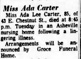 Obituary for Ada Lee Carter (Aged 85) - Newspapers.com