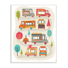 The Kids Room By Stupell 10 In X 15 In Mod Illustration Quirky Food Trucks And Trees By Allison Cole Wood Wall Art Brp 2309 Wd 10x15 The Home Depot