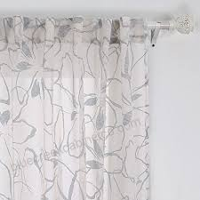 Deconovo Rod Pocket Sheer Curtains Back Tab Floral Cotton Sheer Voile Panels For Kids Room 52w X 84l Inch Grey 1 Pair Kitchen Dining B01jz6n91g