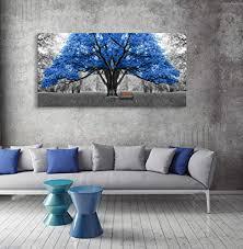 Canvas Wall Art Contemporary Blue Trees Buy Online In El Salvador At Desertcart