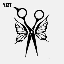 Yjzt 11 2cm 15 5cm Vinyl Decal Hairdresser Scissors Butterfly Wings Car Stickers Art Black Silver C24 0254 Car Stickers Aliexpress