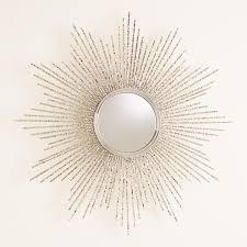 square beaded burst mirror nickel