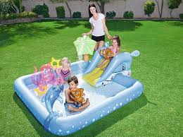 B M Is Selling An Inflatable Pool With A Slide Sprinkler And Inflatables For Just 25 Pnu