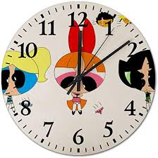 Amazon Com Sdghh Powerpuff Girls Boys Wooden Wall Clock Decorative Home Decor Digital Clock Battery Operated Round Easy To Read Home Office School Living Room Kitchen Bedroom Kids Clock Home Kitchen