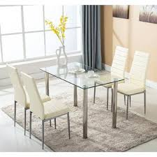 Winado 5 Piece Glass White Dining Table Set 4 Chairs Room Kitchen Breakfast Furniture