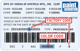 honda touch up paint color code and