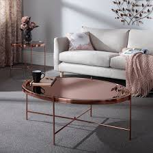 merton mirrored coffee table in rose