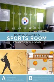 Boys Room Ideas For A Sports Soccer Football Basketball Court Sports Theme Bedrooms More Ideas Www Decalid Sports Themed Room Kids Sports Room Sports Room Boys