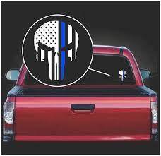 Punisher Skull Flag Back The Blue Thin Blue Line Vinyl Decal Sticker Sticker Flare Llc