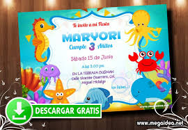 Invitaciones Animalitos Del Mar Mega Idea