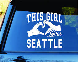 Amazon Com This Girl Loves Seattle Decal Sticker Car Window Truck Laptop Tablet Super Bowl Special Seahawks Lynch Wilson Football Home Kitchen