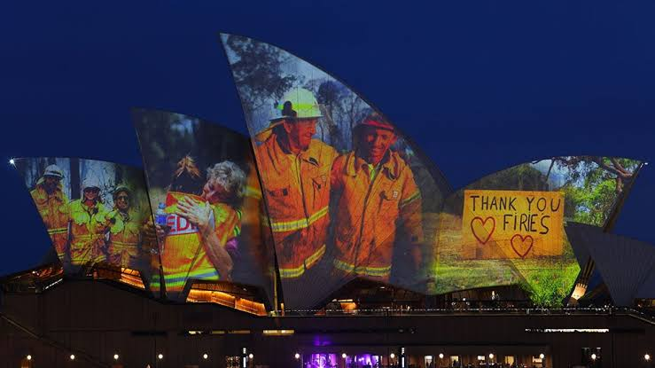 Image result for sydney opera house lights up for firies