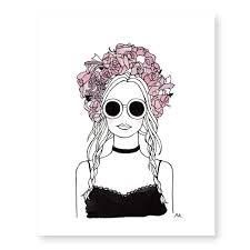 flower crown girl art print akrdesignstudio
