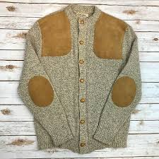 xl wool knit suede leather elbow patch