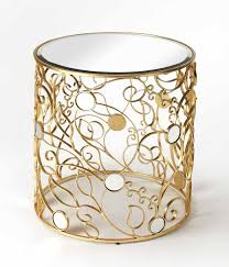 mirror top side table with antique gold