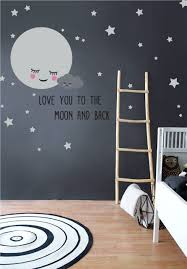 Moon Stars Nursery Wall Decals With Removable Cute Baby Cloud And Quote Stickers For Kids Room The Decal Guru
