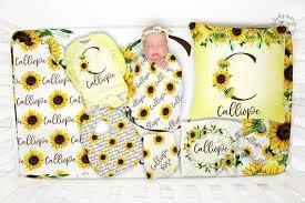 newborn baby girl gift set sunflower