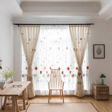 Sunflower Country Dining Room Curtains Embroidered Floral With Sheer