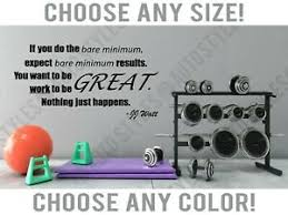 Motivational Quote Workout Weights Bar Gym Room Wall Decal Fitness Vinyl Sticker Ebay