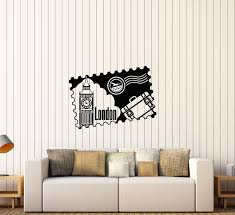 Vinyl Wall Decal Postage Stamp London England Big Ben Traveling Sticke Wallstickers4you