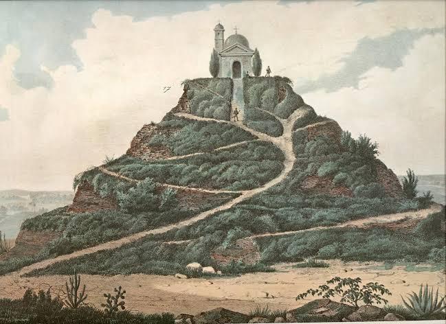 imagen antigua de la Pirámide de Cholula