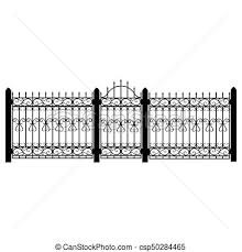 Fence Gate Vector Vector Illustration Wrought Iron Modular Railing And Fence Vintage Gate With Swirls Black Forged Fence