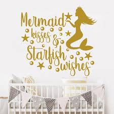 Huis Mermaid Kisses Starfish Wishes Wall Decal Girls Room Decor Vinyl Sticker Quote Muurversieringen Stickers Thinkinganglicans Org Uk