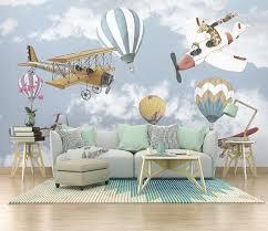 Airplane And Baloon Wallpaper Kids Room Cartoon Wall Mural Etsy
