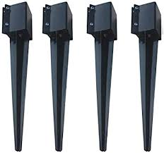 Mtb Fence Post Anchor Ground Spike Metal Black Powder Coated 32 X 4 X 4 Inches Outer Diameter Inner Diameter 3 5 X3 5 Inches Pack Of 4 Amazon Com