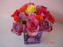 18 mixed color roses in lavender cube