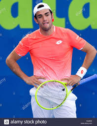 Doha, Qatar. 31st Dec, 2018. Matteo Berrettini of Italy reacts during the  singles first round of ATP Qatar Open tennis match aganst Roberto Bautista  Agut of Spain in Doha, capital of Qatar,