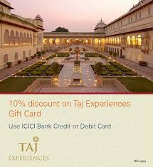 taj experiences gift card offer icici