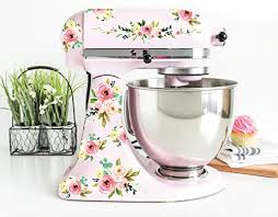 Amazon Com Pastel Pink Watercolor Floral Vinyl Decals For Kitchen Mixers Flower Mixer Stickers Fits Most Kitchen Aid And Other Brand Stand Mixers Handmade