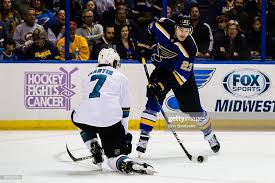 St. Louis Blues Winger Dmitrij Jaskin takes a shot on goal as San... News  Photo - Getty Images