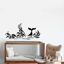 Vinyl Wall Decal Cartoon Sea Waves Ship Nautical Whale Tail Stickers Wallstickers4you