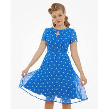 lindy bop bretta blue polka dot dress