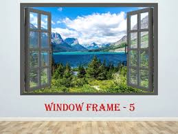 3d Window Mountains Wall Decor Vinyl Poster Nature 3d Window Etsy