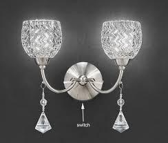 twin wall light satin nickel cut glass