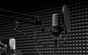 تحميل خلفيات الميكروفون استوديو تسجيل الصوت الغناء مفهوم الفرقة