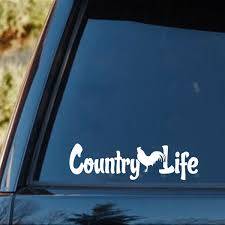Country Life Living Rooster Chicken Car Truck Window Laptop Vinyl Decal Sticker