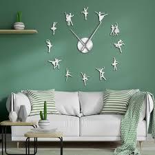 Ballerina Wall Art Diy Large Big Needles Frameless Giant Ballet Dancer Wall Clock Oversized Dancing Girls Mute Watch Dancer Gift Wall Clocks Aliexpress