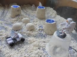 Moon Play! Just add flour, baby oil and glitter! We did this 2 ...