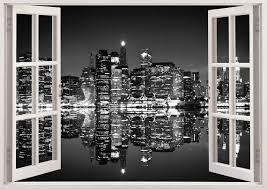 New York Skyline Wall Sticker 3d Window Black And White New Etsy Wall Stickers New York Window Mural Wall Stickers 3d