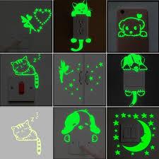 Cartoon Luminous Switch Sticker Glow In The Dark Wall Stickers Home Decor Kids Room Decorat Kids Room Wall Stickers Wall Stickers Kids Wall Stickers Home Decor